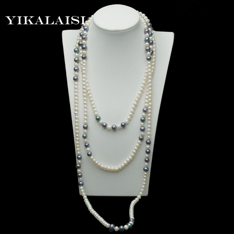 YIKALAISI Long Multilayer Pearl Necklace Freshwater Pearl Shell Necklaces Women Accessories Statement Necklace Jewelry For Women stylish chic faux pearl layered necklace for women