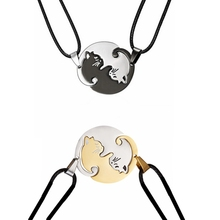 Rinhoo Couples Jewelry animal Necklaces Gold Silver Color Couple Necklace Titanium Steel cat Boy and Girl friend Gifts