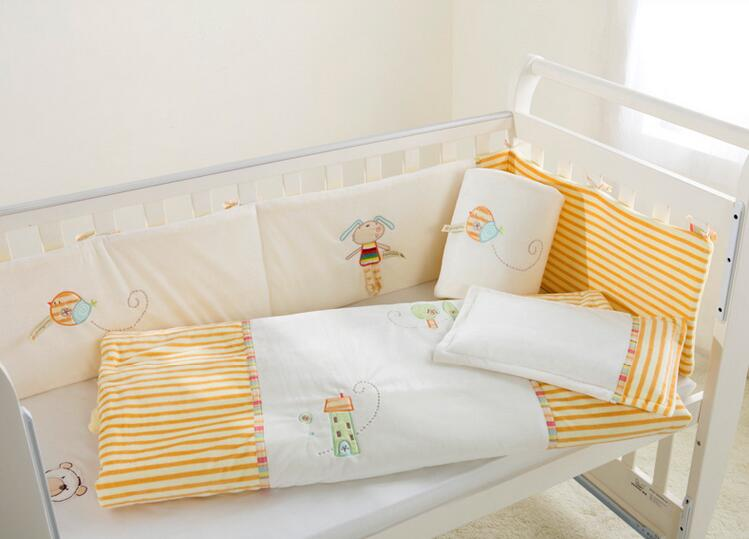 Baby bedding set 100% cotton crib bedding set White yellow