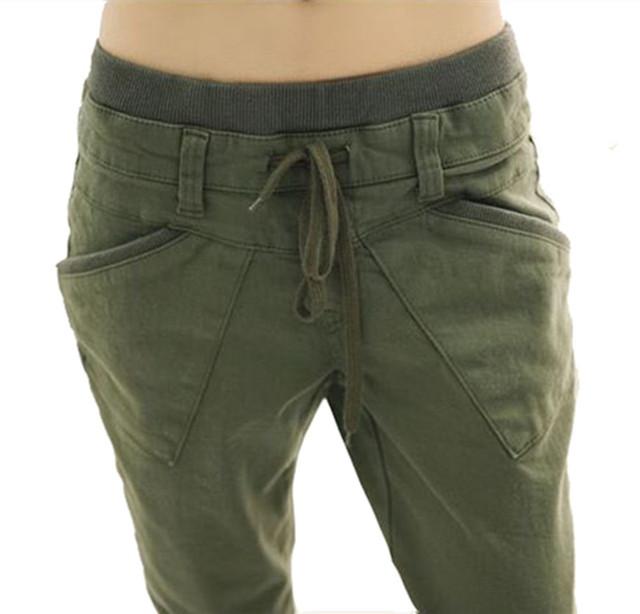 Nuevo 2016 mujeres del resorte Verde Del Ejército pantalones harem flojo ocasional pantalones pantalones más tamaño pantalones de las mujeres mujeres de talla grande ropa T-127