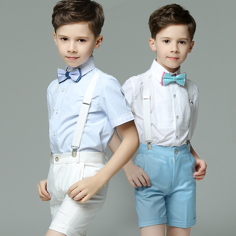Summer Short Sleeve 4pcs/set(Strap+Shirts+Bow tie+Pants) Pink/Blue/White Fashion Show/Performance/Birthday Boys' Blazer Suits