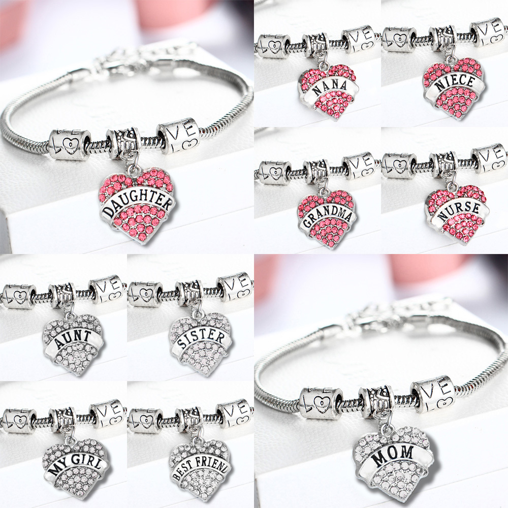 crystal letter family memberbest friend bracelets sweet love heart charm bracelet bangle for womengirls wholesale