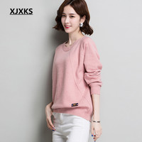 XJXKS Women's sweater autumn winter new 2019 fashion round neck long sleeved loose large size knitted sweater pullover women