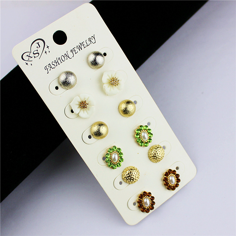 Fashionable and gorgeous womens accessories girl party green floral mix type earrings 6 pairs/set earnail agent shipping