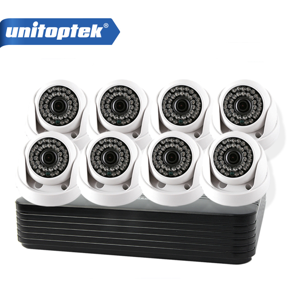 UNITOPTEK 8CH AHD CCTV Camera System Home Security HD 720P 8CH DVR 8Pcs 1 0MP 8
