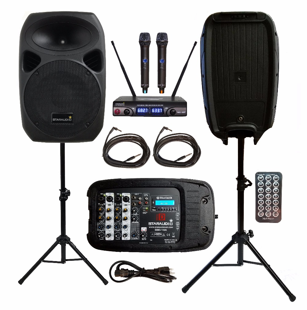 STARAUDIO 2Pcs 10 1500W Passive PA DJ BT SD USB Speakers With 2 Stands 1 Powered Mixer 2 Cables 2CH UHF Wireless Mics SSD-10A