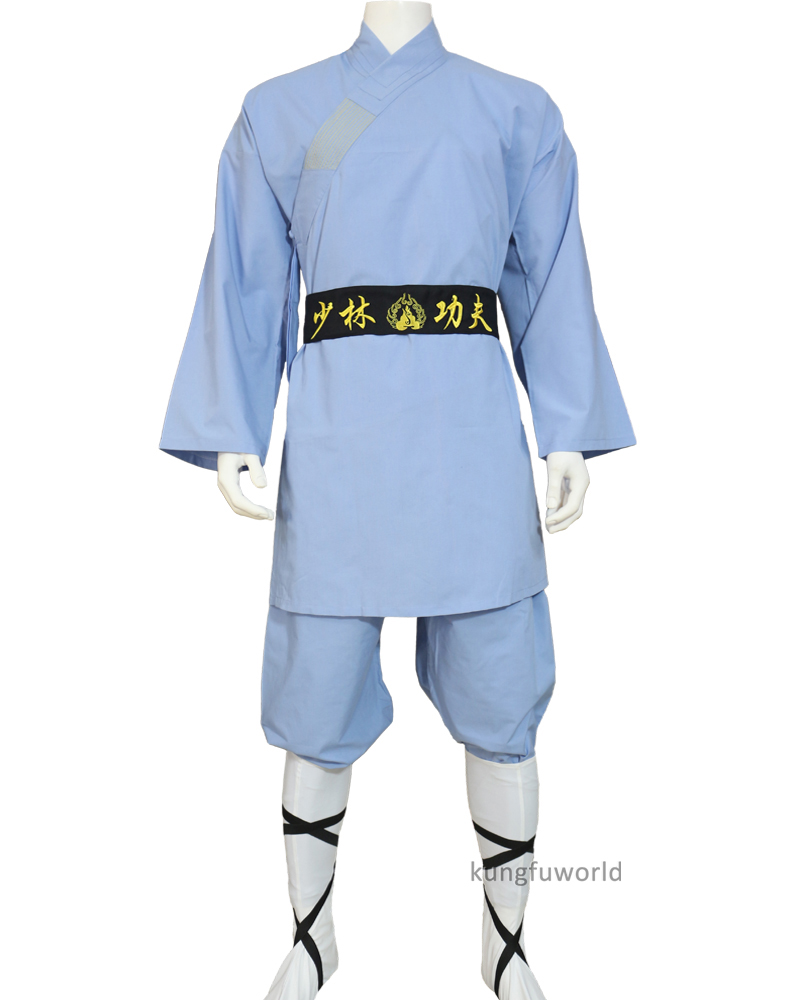 Light Blue Cotton Shaolin Uniform Kung Fu Tai Chi Suit Martial Arts Wing Chun Clothing