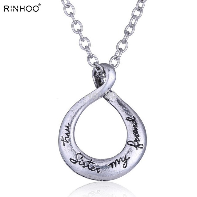 Vintage silver my sister my friend engraved handstamped twist vintage silver my sister my friend engraved handstamped twist circle pendant necklace charms love aloadofball Gallery