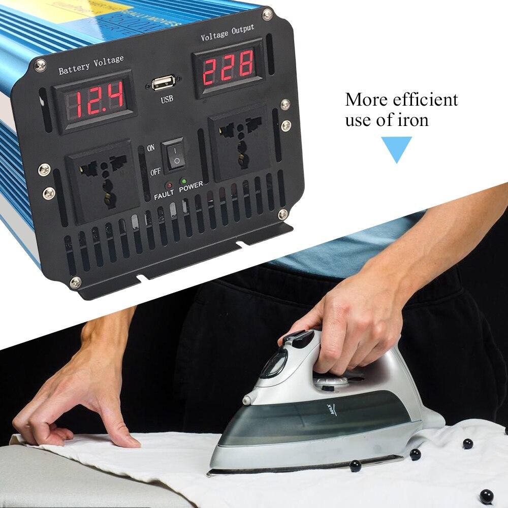 Инвертор немодулированного синусоидального сигнала с двойным светодиодным дисплеем, 3500 Вт/7000 Вт