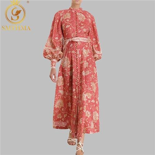 Haute qualité design de luxe piste Vintage femmes robe col montant lanterne manches taille haute simple boutonnage à lacets longue robe