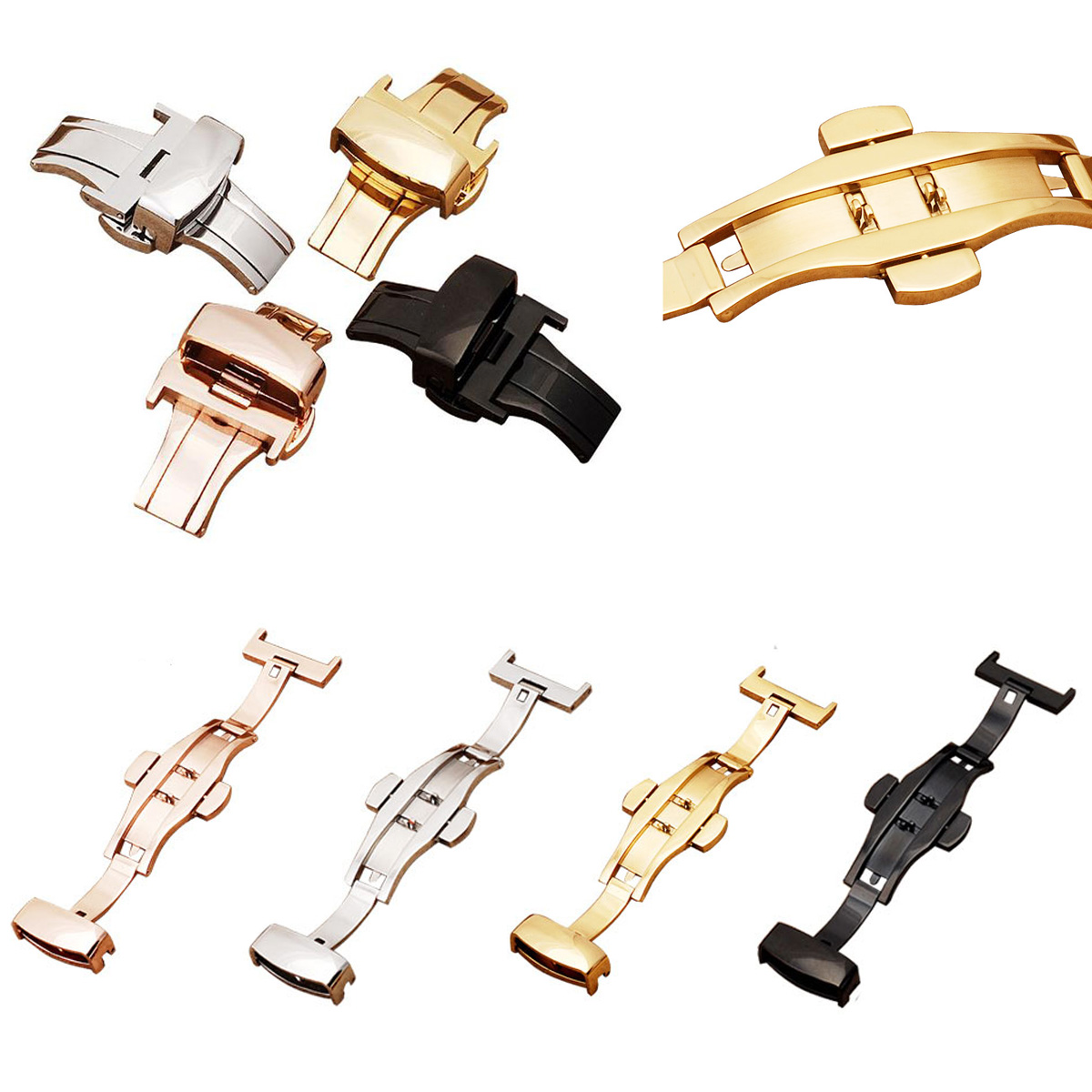 12 14 16 18 20 22 24mm Silver Black Gold Rose Gold Deployment BUTTERFLY CLASP Buckle Watch Band Double Push Button Buckle zlimsn 20mm double push button deployment clasp silver gold black rose gold stainless steel watch metal buckle relojes hombre