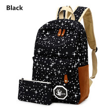Women pokemon bag For Teenage Girls School mochila galaxia Back Pack Canvas Cute Stars Printing Backpack Set For Children