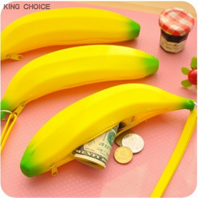 2017 Novelty Funny Pouch Silicone Portable Yellow Banana Cheap Coin Purse Kids Small Pencil Case Unique Bag Wallet Key Holder novelty creative grenade shaped zippered key case coin pouch bag purse black