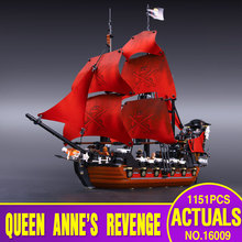 New LEPIN 16009 1151pcs Queen Anne's revenge Pirates of the Caribbean Building Blocks Set Minifigures Compatible with  4195