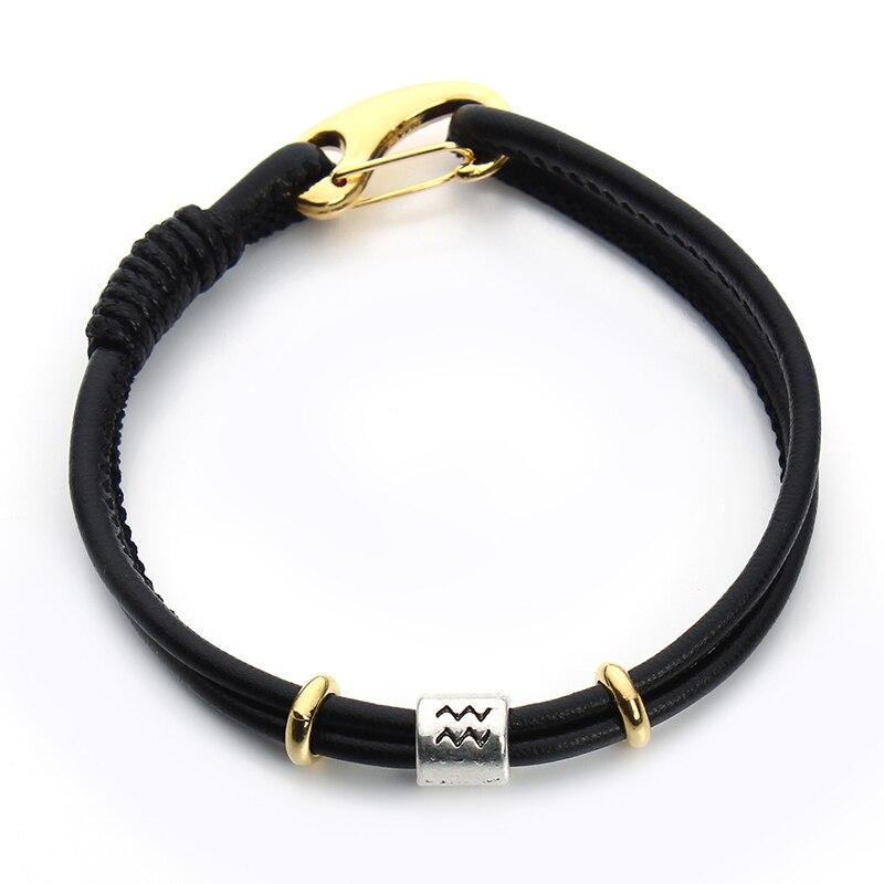 Pulsera de constelación de moda 12 Zodiac Charm Pulseras Hombre pulsera de cuero negro para Mujeres Hombres pulsera de amistad hecha a mano