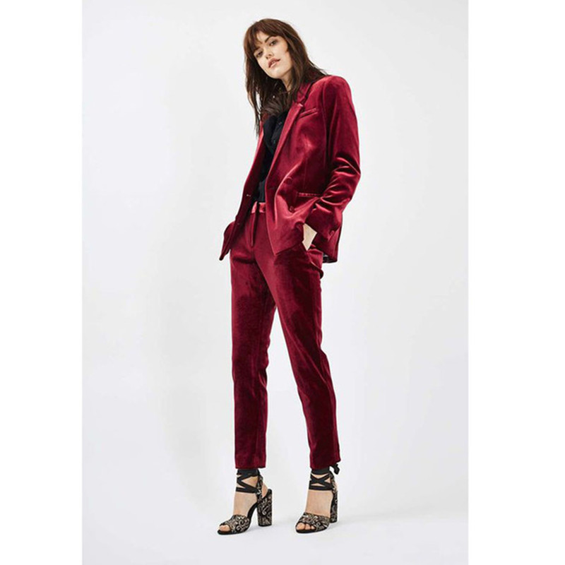 fashion Velvet Wine Color Ladies Office Evening Suits Pant for Women Business Suits 2 Piece Set Womens Tuxedos Custom Made Des