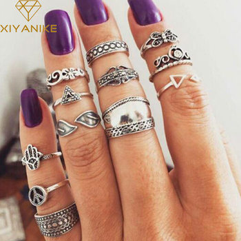 XIYANIKE 12pcs/Set Vintage Knuckle Palm Butterfly Finger Ring Set for Women Femme Fashion Midi Boho Jewelry R100 image