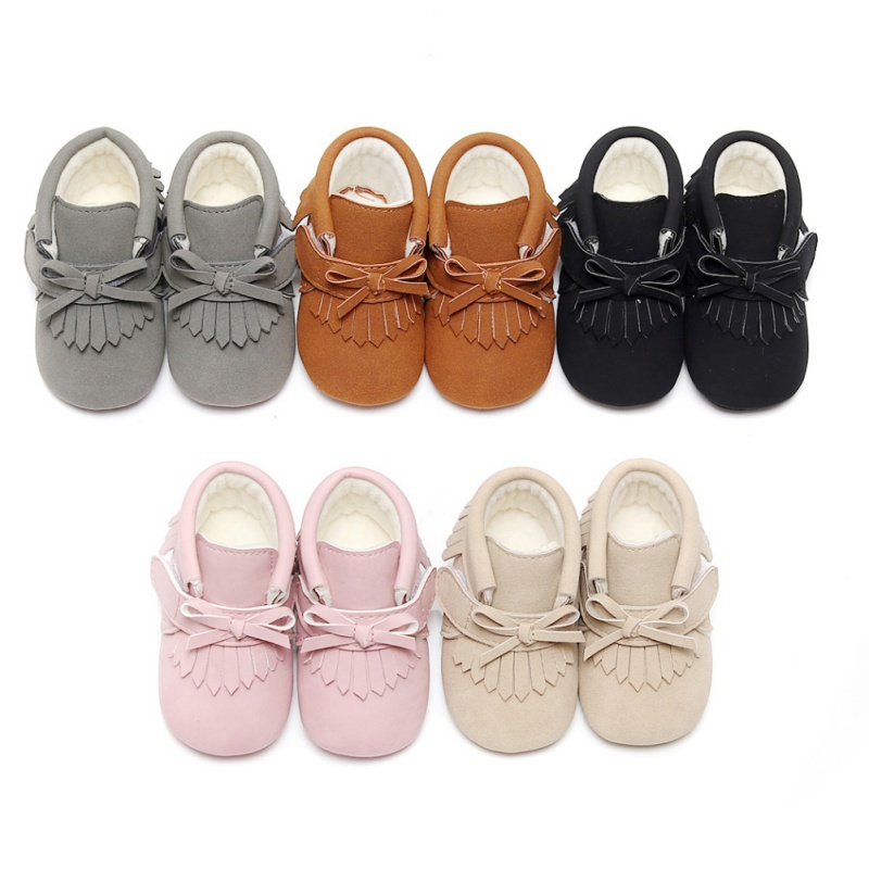 PU Suede Leather Newborn Baby Boy Girl Moccasins Soft First Walkers Shoes Bebe Fringe Soft Soled Non-slip Crib Lace-up