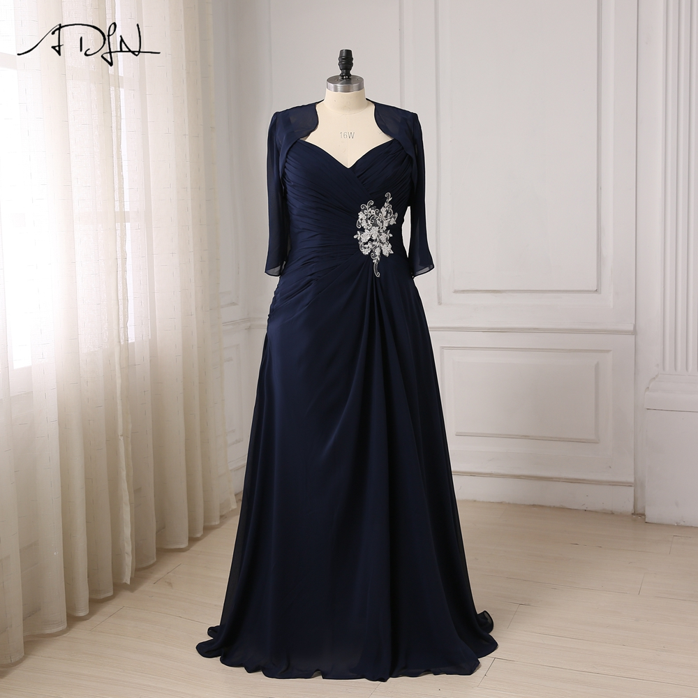 ADLN Custom Made V Neck Chiffon Mother of the Bride Dresses Floor length Pleats Body Mother Gowns with Jacket