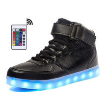 High Top Men Led Shoes with Remote Comtrol Luminous Light Up For adults 7 Colors Flashing Casual USB Charge