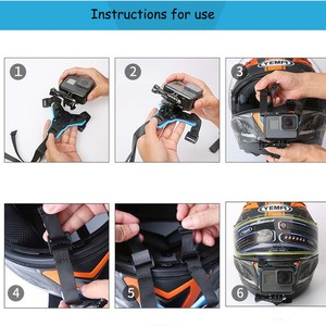 Image 5 - JINSERTA מלא פנים קסדת סנטר הר מחזיק עבור GoPro גיבור 8 SJCAM אופנוע קסדת סנטר לעמוד Gopro 6/5 מצלמה אבזר