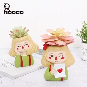 Image 4 - Roogo 유령 말 소녀 꽃 냄비 수지 Cachepot 귀여운 꽃 냄비 즙이 많은 장식 분재 냄비 홈 정원 장식