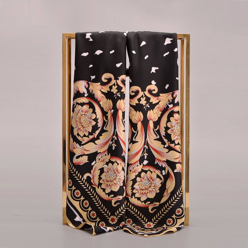 Large Silk Scarf Golden Flower | Lightweight Scarves
