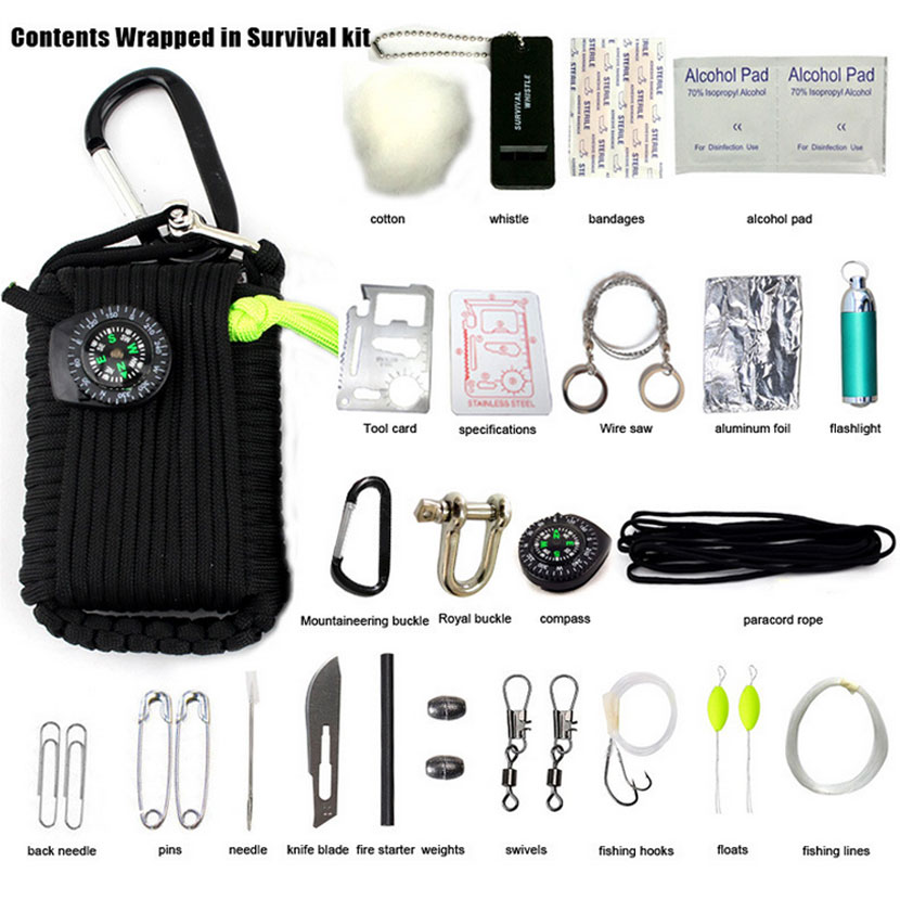 NEW Black 29 Sets Of Emergency Kits Mountain Pack Climbing Camping Field Kit Emergency First Aid Outdoor Sports Travel Medicine free shipping instant ice pack cold pack bag for emergency kits first aid kit cool pack fresh cooler food storage sports