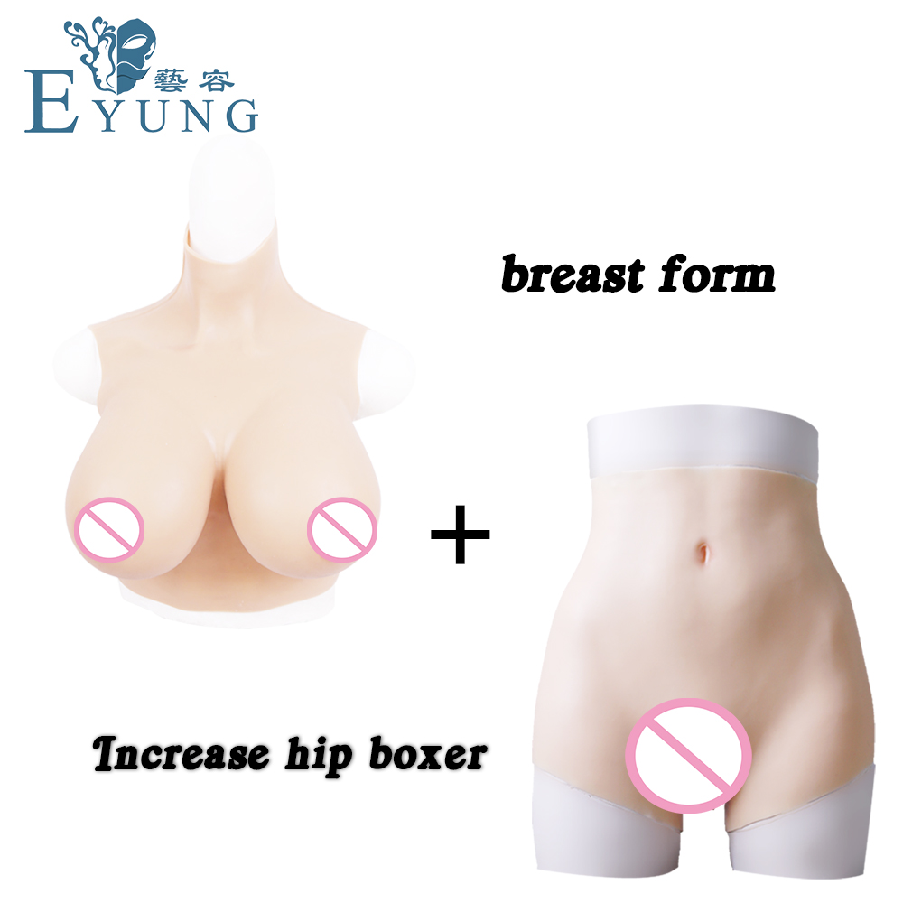EYUNG 2019 solicone breast forms with E cuops fake boobs High simulation fake vagina pants for crossdresser dragqueen shemale