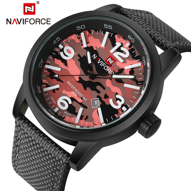 Relogio masculino Sports Men Watch NAVIFORCE Militares Top Marca de Quartzo relógios de Pulso Dive Preto Nylon Exército Relógios Relógio Masculino