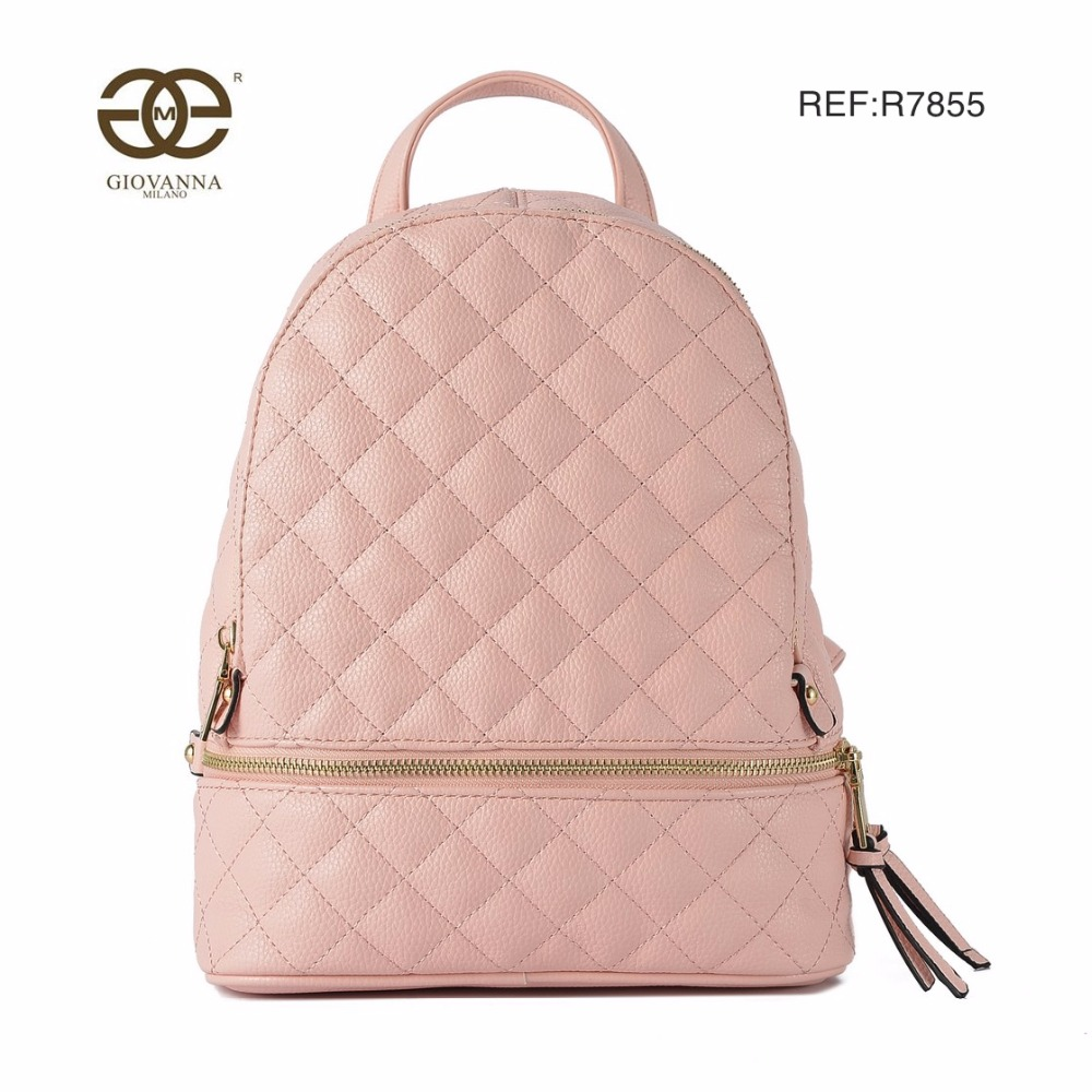 6aea2cfa30ed Women backpack solid PU leather with criss cross diamond lattice pattern  zipper decoration famous luxury brand design R7855 Tags