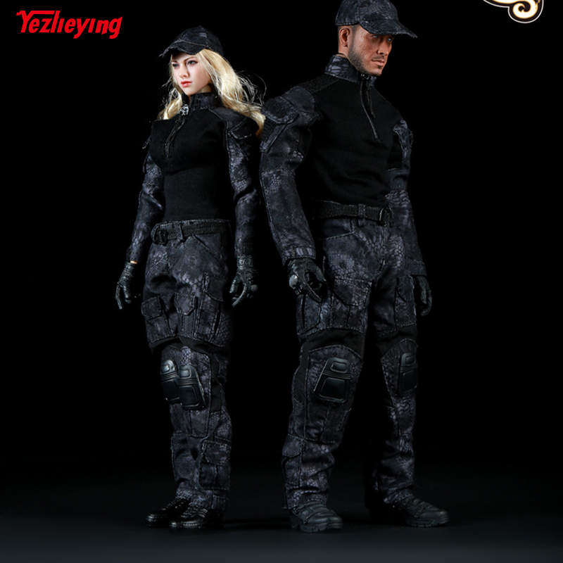 1 6 Scale Fire Girl Toys FG005 Female FG006 Male Black Snake Camouflage Uniform Combat Clothing