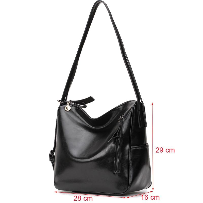 Big Capacity Women Genuine Leather Shoulder Bag Luxury Women Leather Handbag Ladies Bucket Black Crossbody Bag