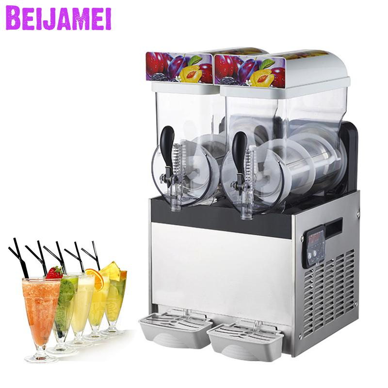 Beijamei Automatic Two-cylinder Snow Mud Machines Smoothie Blending Juice Maker Commercial Snow Melting Machine