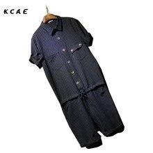 Male Slim Cotton plus size one piece denim bib pants men s Jumpsuit Overalls Stripe Suspenders