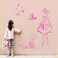 Home Decoration Words Paris Anime Wall Posters Girl With Birds Dog Stickers For Kid/baby Nursery Room Decorative Decals Art
