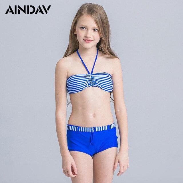 9fb585750f Girls AINDAV Swimsuit Cute Halter Bikini Set Adolescent Kids Swimwear Two  Piece Bathing Suits Biquini Children