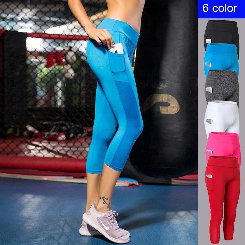 ★  Женские укороченные штаны с карманом для йоги Фитнес Бег Упругие узкие быстросохнущие пот 7 штанов ①
