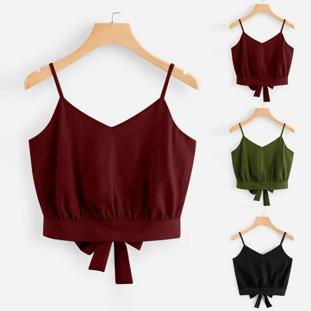 Haut court Camisole col en V rayé coton mélangé débardeur été femmes mode gilet hauts Bownot 2019 S-XL 12 couleurs offre spéciale