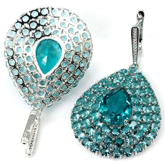 Ravishing Flower Shape Rich Blue Aquamarine, White CZ Womans 925 Silver Earrings 67x36mm