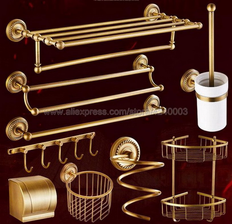 Antique Brass Bathroom Hardware Towel Shelf Towel Bar Paper Holder Cloth Hook Bathroom Accessory Wall Mounted Kxz005 цены