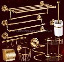 Antique Brass Bathroom Hardware Towel Shelf Bar Paper Holder Cloth Hook Accessory Wall Mounted Kxz005