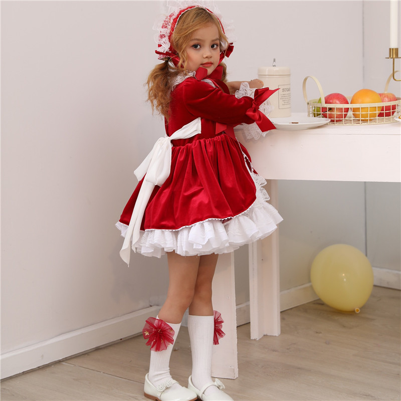 c4509cbbf2120 US $31.19 |Teenmiro 4PCS Spain Dress Girls Royal Costumes Kids Princess  Wedding Birthday Dresses Party Lace Robe Fille Baby Girl Clothing-in  Dresses ...