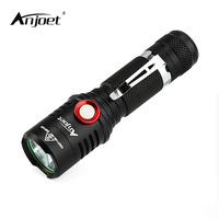 ANJOET Night Cycling Flashlight Xm L2 USB Rechargeable Led Torch Lamp Outdoor Camping Light Lantern Torches