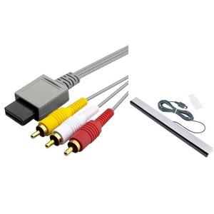 Image 1 - 6 Ft 1.8m AV Composite RCA Cable+Black Wired Sensor Bar For Nintendo Wii New