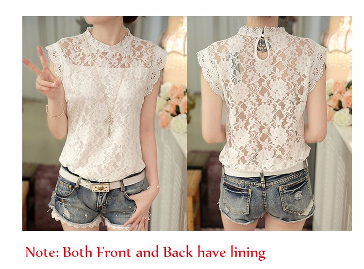 869966d3060 ... Summer Ladies Tops Sexy Plus Size White Gray Lace Blouse Top Crochet  Sleeveless Stand Neck Casual ...
