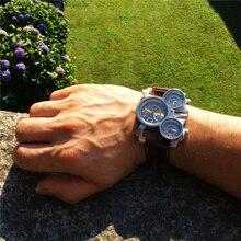 Top Brand Luxury Military Quartz Watch Unique 3 Small Dials Leather Strap Male Wristwatch