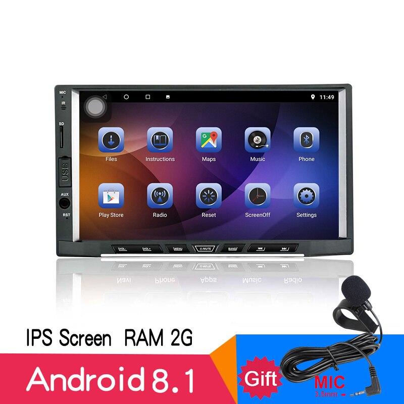 7 ips Android 8,1 2 г + 16 8 кор 2DIN мультимедийный плеер универсальный автомобильный Радио gps аудио стерео Авто Bluetooth навигации DVD