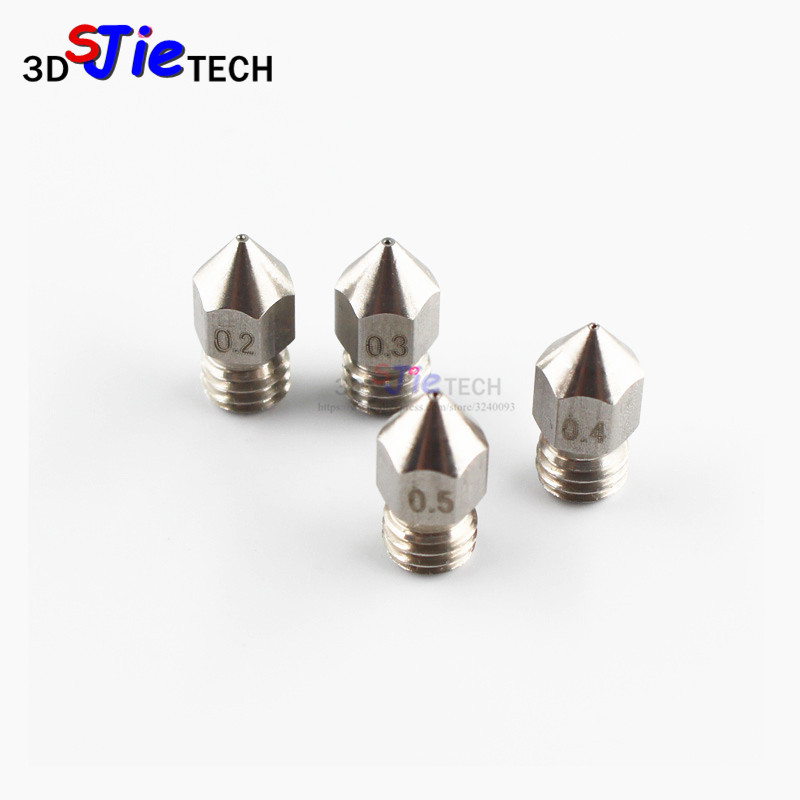 1pc MK8 M6 Threaded Stainless Steel/Brass Nozzle 1.75mm 0.2/0.3/0.4/0.5mm For Creality Cr-10 Ender 3 Pro CR20 Anet A8 3D Printer