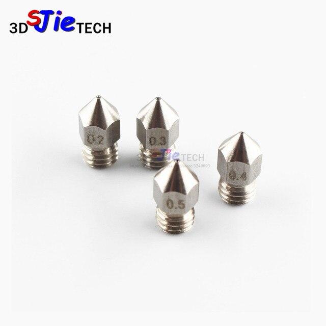MK8 M6 с резьбой нержавеющая сталь/латунная насадка 1,75 мм 0,2/0,3/0,4/0,5 мм для creality cr-10 Эндер 3 Anet A8 3D-принтеры J-head